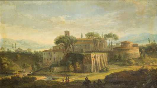 Continental School Painting of a Walled City
