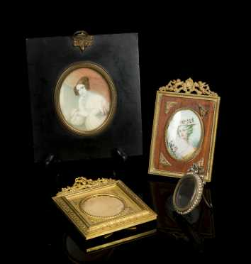 Four French Style Frames and Two Miniature Paintings