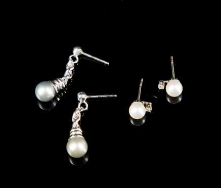 Two Pairs Pearl and 14kt. White Gold Earrings