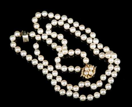 14kt. Yellow Gold and Diamond Clasp Double Strand of Pearls