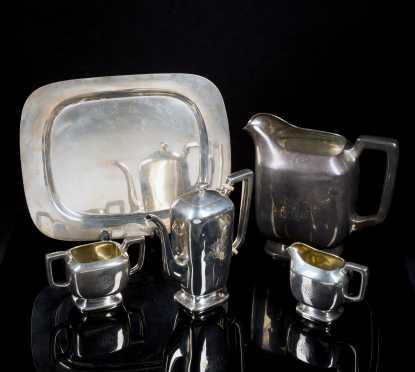 Sterling Silver Coffee Service, Tray and Pitcher