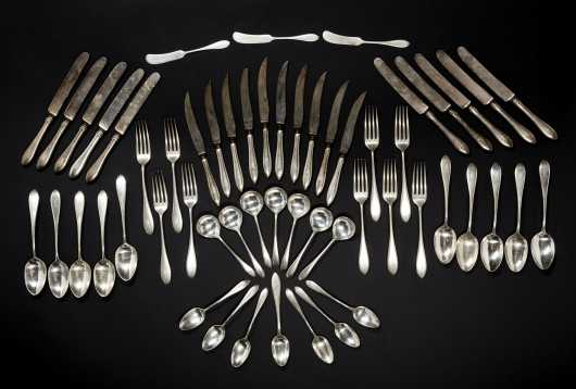 Fifty-Five Pieces Sterling Silver Flatware
