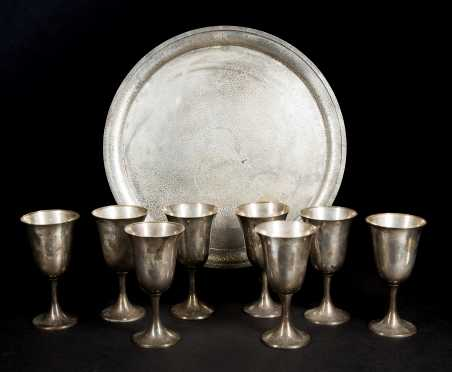Sterling Silver Goblets and Hammered Tray