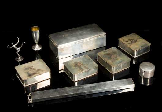 Dunhill Lighter/Ruler and Eight Sterling and Plated Table Wares