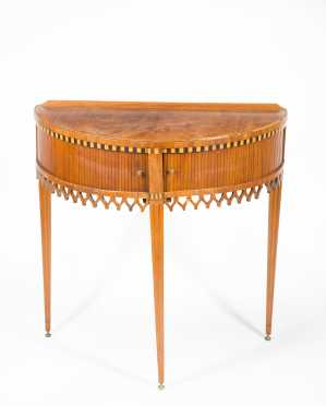 French Tambour Demilune Table