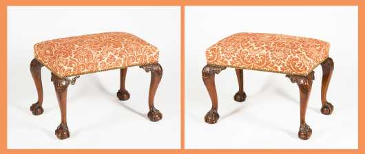Pair of Chippendale Style Footstools