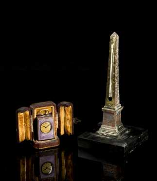 Miniature Swiss Travel Clock and Grand Tour Obelisk