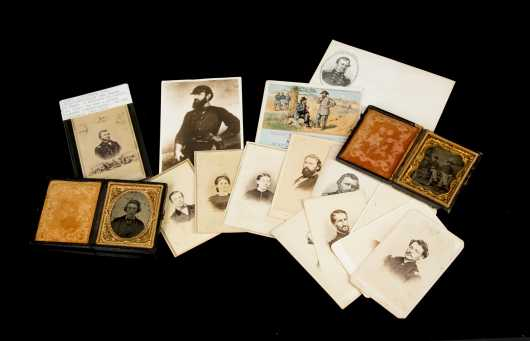 Civil War Photographic Lot of Fourteen Cabinet Cards and Two Tintypes