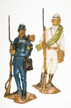 Two Civil War Soldier Wall Plaques