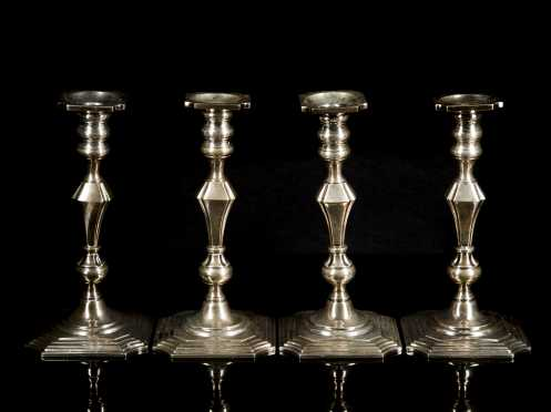 Set of Four Sterling Silver Candlesticks