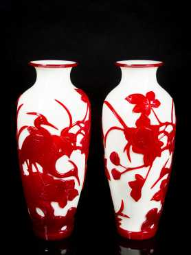 Pair Chinese Red on White Peking Glass Vases