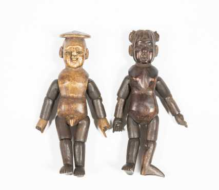 Two Chinese Articulated Wooden Figures