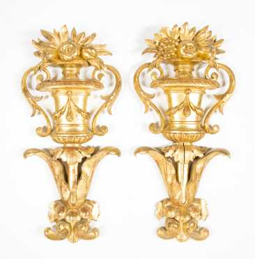 Pair of Carved and Gilt Wall Decorations
