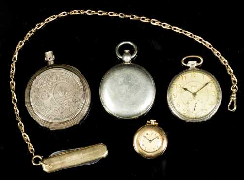 Lot of Pocket Watches, Compass, and Pocket Knife in Gold and Silver