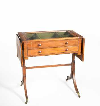 Regency Mahogany Drop Leaf Vitrine Table