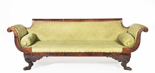 Carved Mahogany Paw Foot Empire Sofa