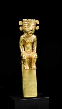 A Pre Columbian Gold Seated Figure, Possibly Chiirqui or Diquis