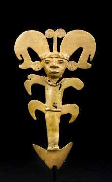 A Pre Columbian Gold Figural Pendant