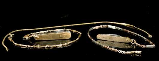 Two Yellow Gold Pocket Knives with Gold Chains