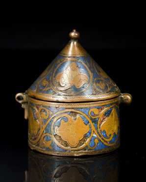 A Persian Metal and Enamel Decorated Dome Top Box