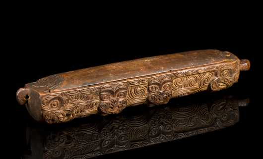 Maori Style Carved Wooden Feather Valuable Box