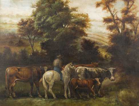 Primitive American Painting of Cows