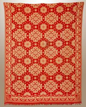 "Red and White ""Liberty"" Eagle Border Jacquard Coverlet"