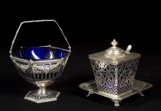 Two Sterling Silver Glass Lined Serving Pieces