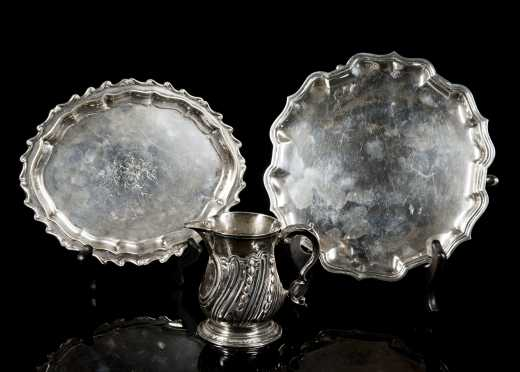 Two English Coin Silver Salves and a Creamer