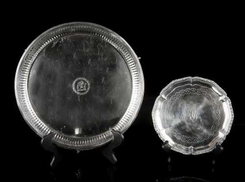 Two Coin Silver English Footed Salvers