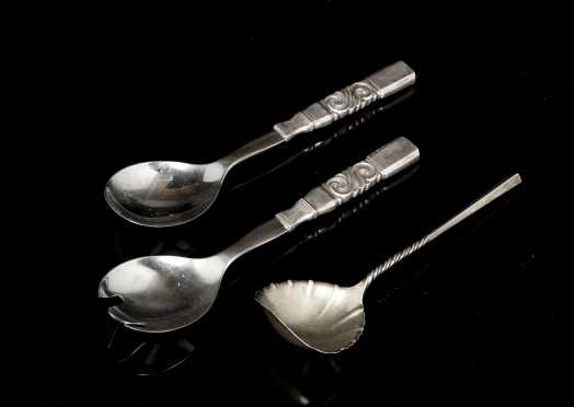 Georg Jensen Sterling Salad Set and Modern Spoon