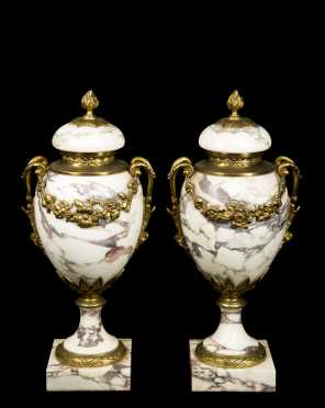 Pair of Marble Garniture with Bronzed Brass Accents