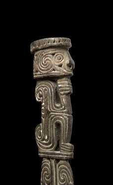 A Fine Massim Figural Lime Spatula, Papua New Guinea