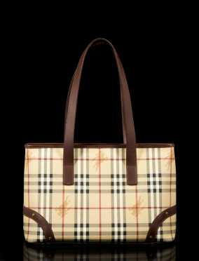 Burberry London Signature Plaid Leather Tote