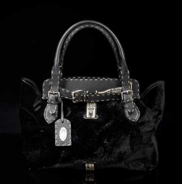 Fendi Leather and Velvet Handbag