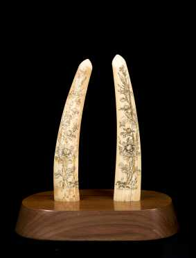Pair of Inuit Scrimshaw Walrus Tusks