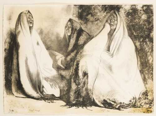 """Francisco Zuniga, México (1912-1998) """"Tres Mujeres Sentadas"""""""