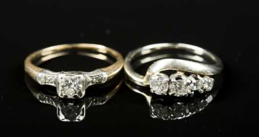 Two Diamond and Gold Rings