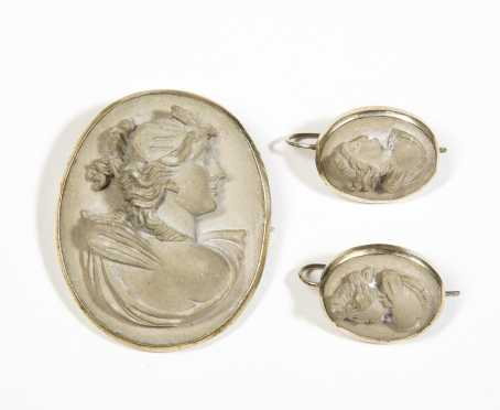 Silver and Lava Rock Cameo Pin and Earring Set