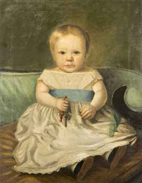 American Primitive Painting of a Young Boy