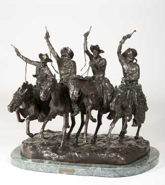 "After Frederic Remington Bronze ""Coming Through the Rye"""