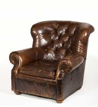 "Leather Lounge Chair, Made by ""Restoration Hardware"""