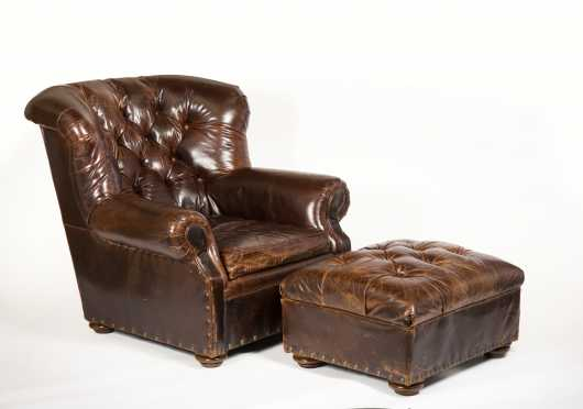 "Leather Lounge Chair and Ottoman, Made by ""Restoration Hardware"""