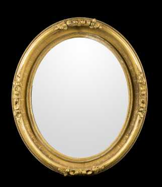 19thC Oval Gilded Mirror