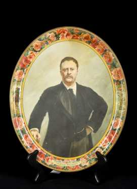 """Theodore Roosevelt"" Advertising Tin Tray"