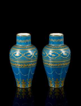Pair of Austrian Teal and Gold Vases