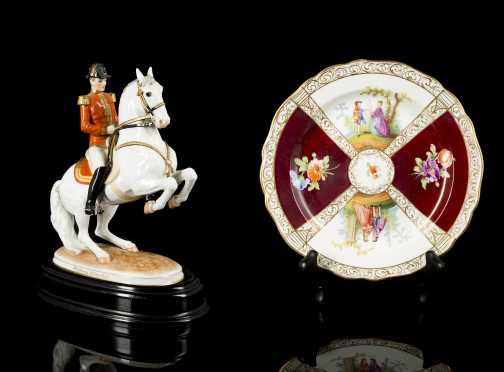 1926 Austrian Porcelain Horse Figure and Meissen Dish