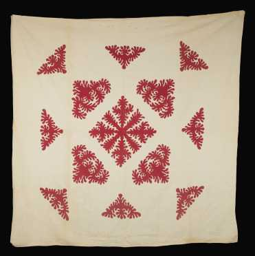 Red on White Snowflake Quilt