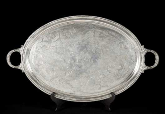 Early 19thC London Coin Silver Handled Tray