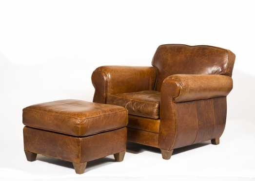 "Leather Armchair and Ottoman, made by ""Mitchell Gold"" especially for ""Restoration Hardware"""